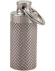 Ohhome Botella de píldora portátil e Impermeable, Cesta de aleación de Titanio Resistente al Agua, píldora para Salvar Vidas, Botella de Primeros Auxilios portátil, Llavero