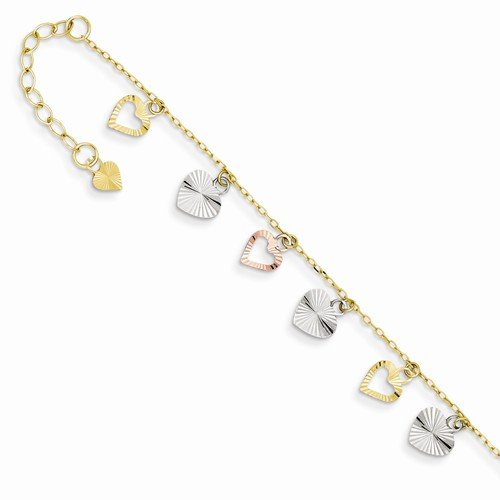 Solid 14k 3 Three Tri Color Adjustable Love Heart Anklet 9'' by Sonia Jewels (Image #2)