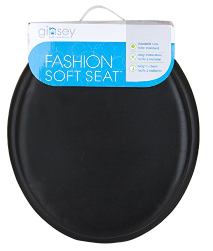 Ginsey Standard Soft Toilet Seat with Plastic Hinges, Black