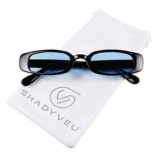 ShadyVEU - 90's Inspired Retro Colorful Tint Lens Shades Rectangular Vintage Slim Clout Oval Sunglasses (Black Frame, Blue Lens)