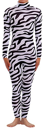 Seeksmile Unisex Classic Lycra Spandex Dancewear Catsuit (Large, (Male Zebra)