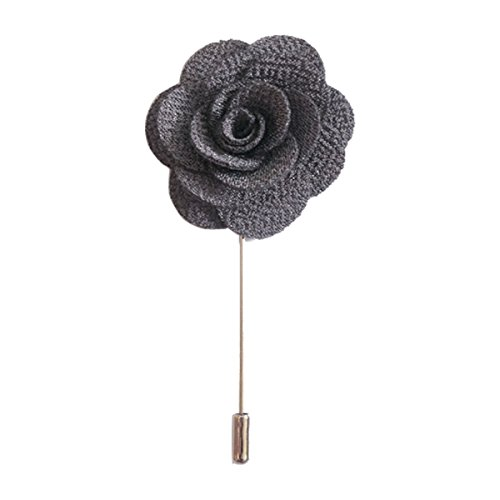 Sunny Home Men's Lapel Flower Stick Brooch Pin Boutonniere Pin for Suit Tuxedo Corsage(dark Grey)