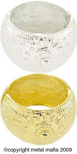 CHUNKY EMBELLISHED BANGLE BRACELET - GOLD