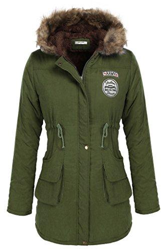 ANGVNS Women Hooded Parkas Winter Warm Faux Fur Lined Lon...