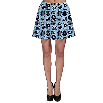 CowCow Womens Blue Black Radio CD Player Music Pattern Skater Skirt