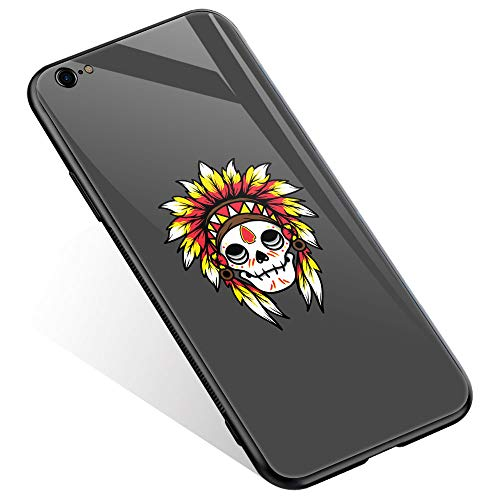 (iPhone 6 Case, iPhone 6s Cases Chief Skull Thin Tempered Glass Back Cover [Shock Absorption] Soft TPU Bumper Frame Support Case for iPhone 6/6s)