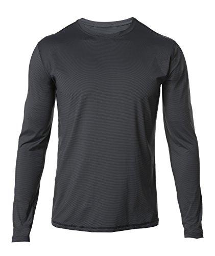SODO Men's A4 Long-Sleeve Microstripe Workout Shirt-Graphite/Black-XXL