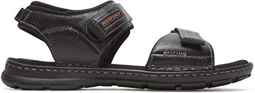 Rockport Men's Darwyn Quarter Strap Flat Sandal, Black Leather, 080 M US