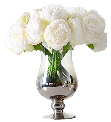 Anlise 5 Heads Artificial Peony Flowers 1 Bouquet Silk Fake Flower for Home Bridal Wedding Party Festival Bar Décor, Cream