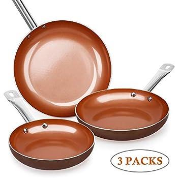 Amazon.com: Juego de sartenes de cobre, juego de 6 sartenes ...