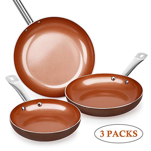 SHINEURI Nonstick Ceramic Copper Pan Set - 8/9.5/11 inch, Frying Pan Set, Fry Pan Set with Induction Base & Stainless Steel Handle, Suitable for Cooking Saute Vegetables, Steaks (Round)