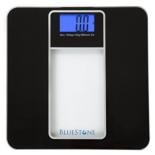 Digital Body Weight Bathroom Scale, Battery Operated Cordless Large LCD Display for Health and Fitness Tracking Scale by Bluestone- Tempered Black