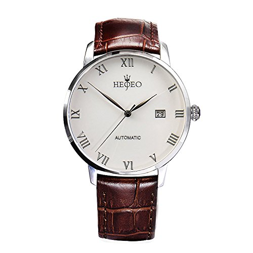 Men's Fashion Wrist Watches Automatic Mechanical Casual Watch Stainless Steel with Brown Leather Band White (Automatic Leather Ladies Watch)