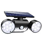 #LightningDeal Solar Lights Outdoor, 30 LED Solar Security Lights with Motion Sensor Dual Head Spotlights IP65 Waterproof 360° Adjustable Solar Motion Lights Outdoor for Front Door Yard Garden Garage Patio Deck