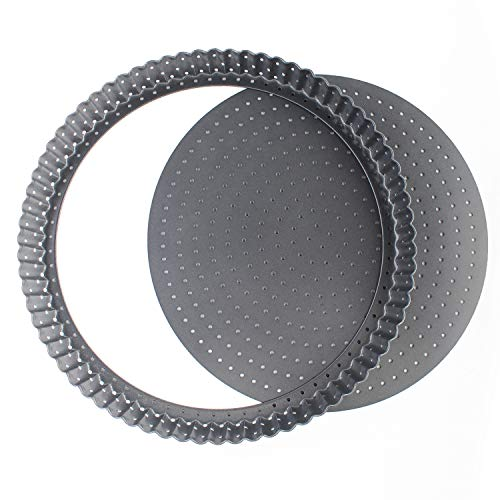 Vanly 11-Inch Perforated Quiche Tart Pan with Removable Base, Non-stick Loose Bottom Tart Pie Pizza Pan, Round Bakeware ()