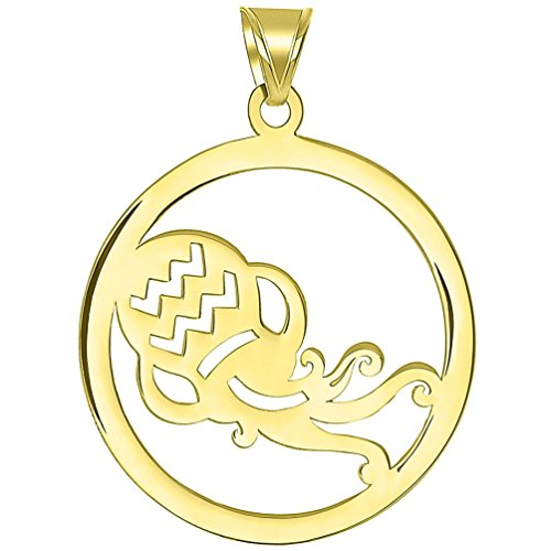 Solid 14k Yellow Gold Round Aquarius Zodiac Sign Cut-Out Vase Disc Pendant ()