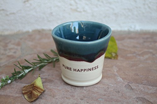 Pure Happiness Handmade Espresso Cup pottery coffee cup with message (Beaker English Mug)