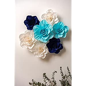 KEY SPRING Paper Flower Decorations, Crepe Paper Flowers, Giant Paper Flowers (Navy Blue, Light Blue, White, Set of 7), Large Paper Flowers for Wedding Backdrop, Nursery Wall Decorations, Baby Shower 2