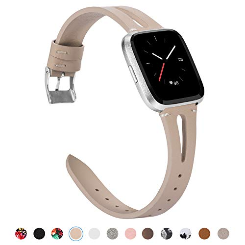 (TOYOUTHS Leather Strap Compatible with Fitbit Versa Bands for Women Men Slim Genuine Leather Wristbands with Ventilated Hole Replacement for Versa Lite Special Edition Accessories Beige)