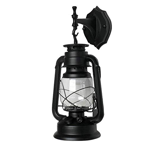 Retro Lantern Wall Fixture Lamp,Light Metal Glass,Suitable for E27 Bulbs,Without Light Bulb (Black)