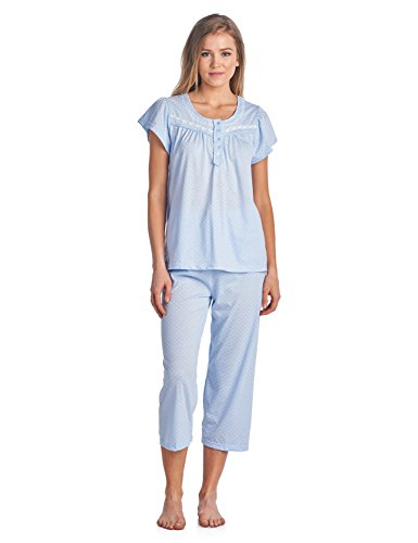 Casual Nights Women's Short Sleeve Dot Print Capri Pajama Set - Blue - Large