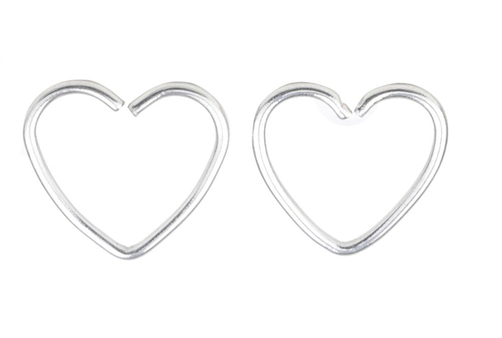 A++ Assorted 2Pcs 16G 1/2'' Heart 316L Seamless Daith Cartilage Earring Hoop Fashion Piercing Jewelry