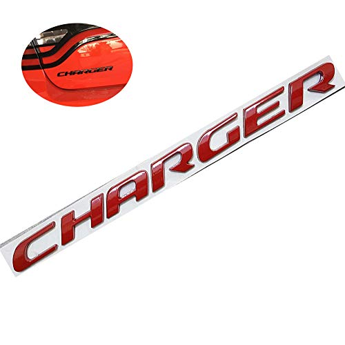(UpAuto 3D Charger Emblem OEM Letters Stickers for Dodge Charger Rear Trunk (Red))