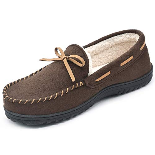 RockDove Men's Sherpa Lined Moc Slipper, Size 12 US Men, Espresso