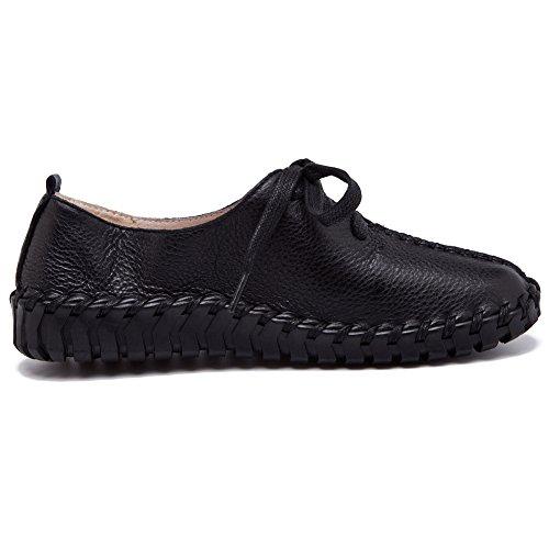 Shenn Mujer Slip Stitch Cordones Linda Cuero Zapatillas Moda Zapatos(Tan,EU38)