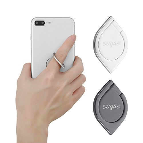 Finger Ring Stand SOYAA 2Pack Water Drop Shape Zinc Alloy 360°C Rotation Cellphone & Phone Holder Car Mount Universal Use for I-Phone 7 7 Plus 6S 6 5 5S,Samsung Galaxy Tablet - Dark grey+Silver