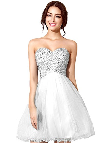 Sarahbridal Girls Tulle Beading Short Homecoming Dress Prom Gown US16 White