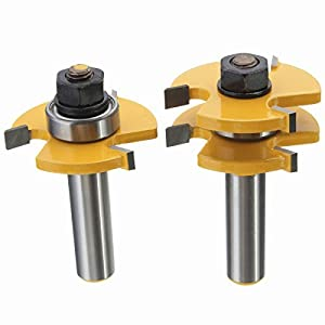 Yingte Tongue and Groove Set, 1/2 Inch Shank T Shape Wood Milling Cutter Woodworking Tool, Wood Door Flooring 3 Teeth Adjustable,2 Piece