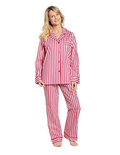 Noble Mount Womens 100% Cotton Poplin Pajama Sleepwear Set - Stripes Red White - Large