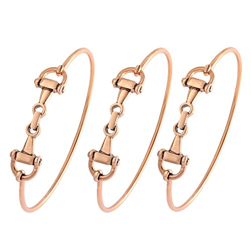 SENFAI Horse Snaffle Bit Hook Clasp Charm Bracelet Bangle Jewelry (Antique Plated Bracelet 3 pcs Set, Rose-Gold-Plated-Base) ()