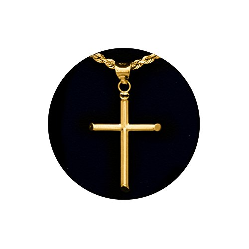 MR. BLING14k Yellow Gold High Polished Cross Charm Pendant (Small ; 1.27 x 0.65)