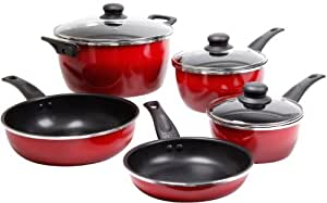 Gibson 83698 08 Oster Welford 8 Piece Cookware Set Red