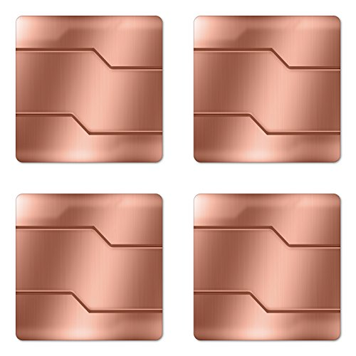 Ambesonne Industrial Coaster Set of Four, Realistic Looking Steel Surface Print Plate Bar Image Technology Inspired Design, Square Hardboard Gloss Coasters for Drinks, Rose ()