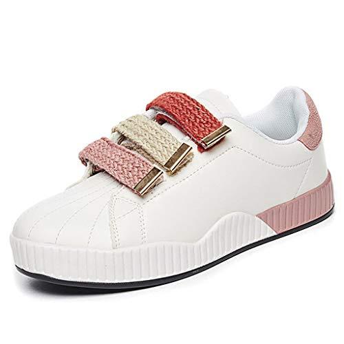 Moda Scarpe Traspirante Skateboard Casual In Donna Studente Sneakers Bianche Velcro Pink Da gqwFxWHS