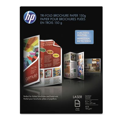 (Tri-Fold Laser Brochure Paper, 97 Brightness, 40lb, 8-1/2 x 11, White, 150 /Pack, Sold as 150 Each)