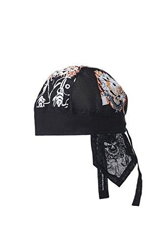 Cotton Do Rag Skull Cap Biker Head Wrap Durag Cycling Bandana Motorcycle Headwear (Black, White, Skulls in Flames)