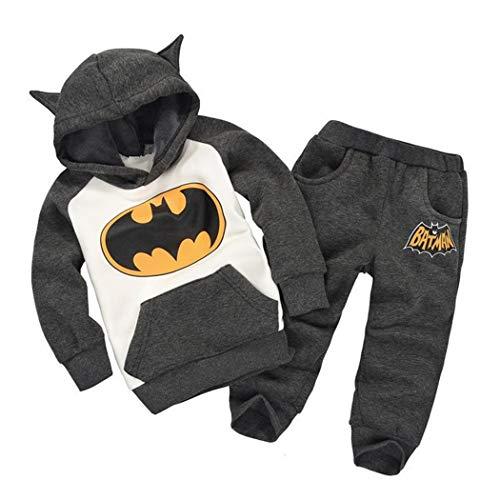 2PCS Kids Baby Boys/Girls Batman Hooded Coat + Pants Set Clothes Outfits (Grey, 4-5 -