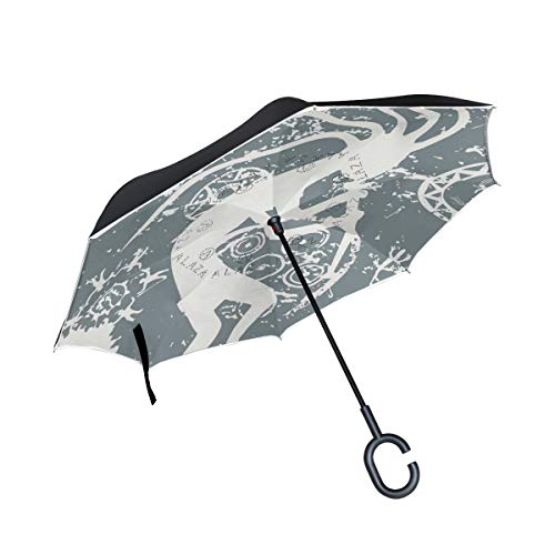 (senya Reverse Inverted Windproof Umbrella Tribal Symbol Upside Down Umbrellas with C-Shaped Handle for Women and Men,Double Layer Inside Out Folding Umbrella)