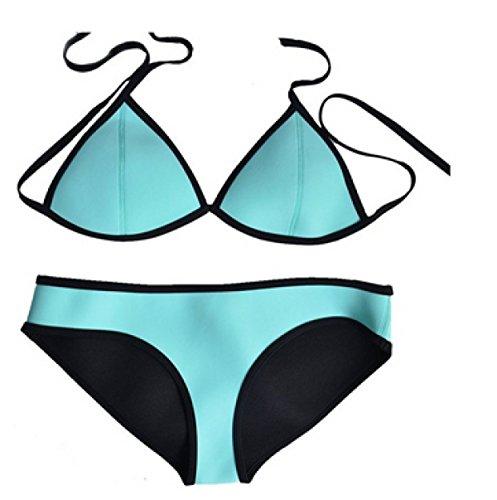 Traje De Baño De Neopreno Traje De Baño Bikini Bikini KUWOMINI.European Y Americano Black