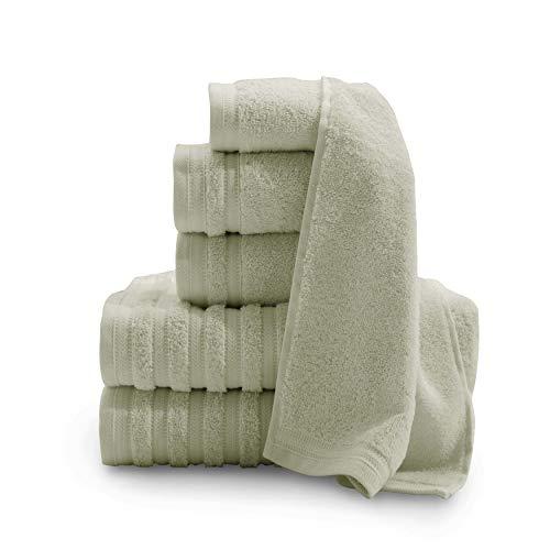 Baltic Linen Pure Elegance 100% Turkish Cotton Luxury Towels, 2 Bath Towels, 2 Hand Towels, 2 Washcloths, Sage Green, 6 Piece Set