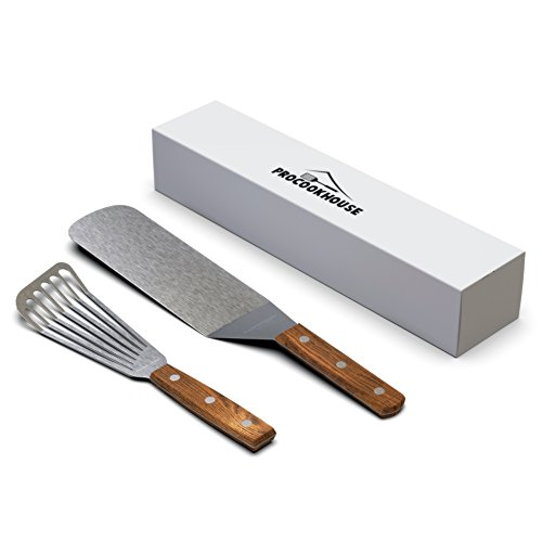 Non Stick Long Slotted Turner - Professional spatula set.Stainless steel Slotted Fish Spatula turner and Pancake or Hamburger Turner or flipper.Non stick blade and solid wood handle.
