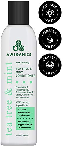 (Aweganics Tea Tree Mint Conditioner - AWE Inspiring Natural Aromatherapy Invigorating Peppermint Conditioners - Cooling, Cleansing, Moisturizing - SLS-Free, Paraben-Free, Cruelty-Free, COLOR SAFE)