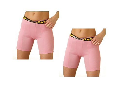 2 Pack Special! SafeTGard Womens Regular-Rise Sliding Shorts (5 Colors Available) (Pink/Pink, X-Large) - Pad Female Groin
