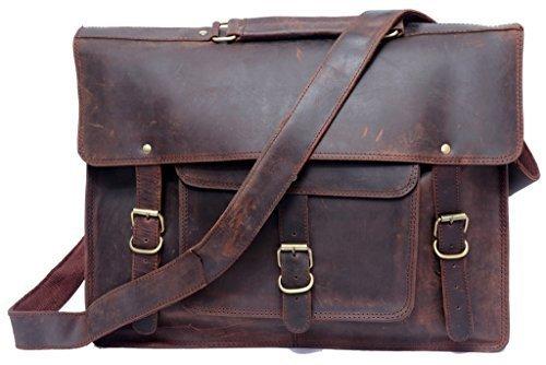 FeatherTouch Leder Aktentasche Herren Lehrertasche Bürotasche Laptoptasche Umhängetasche Vintage groß aus echtem Leder braun