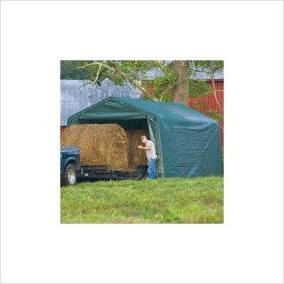 ShelterLogic 12 x 20 x 8-Feet Peak Style Hay Storage Shelter, Green Cover, Outdoor Stuffs