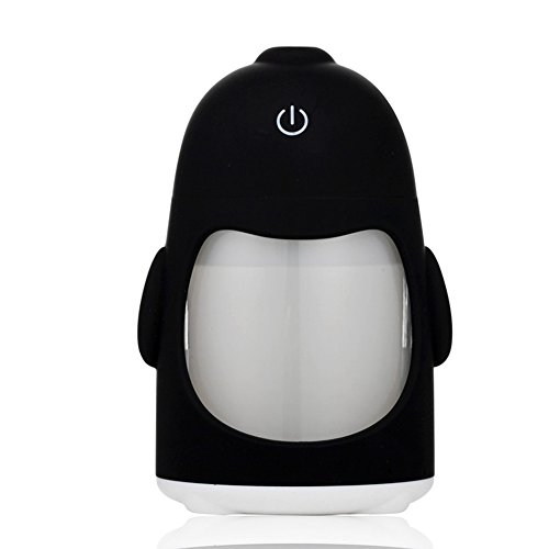 MollBii 150ml USB Penguin Creative Ultrasonic Cool Mist Humidifier Mini Portable USB Air Humidifier with 7 Changing LED Night Lights Aroma Diffuser for Office Desk/ Bedroom/ Travel/ Car (White) by MollBii